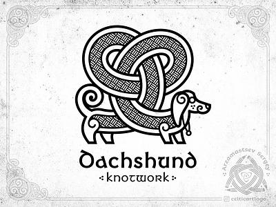 Dachshund knotwork branding brand vector dog dachshund logo design emblem viking animal knotwork knot irish ornament celtic