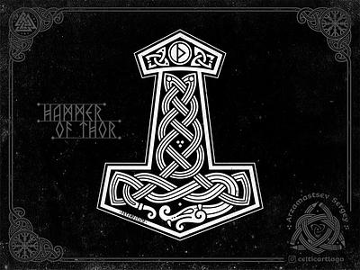 Mjöllnir - Thor's hammer hammer vector thor serpent dragon serpent snake thors hammer rune thurisaz jormungandr mjöllnir celtic ornament logo illustration knotwork viking
