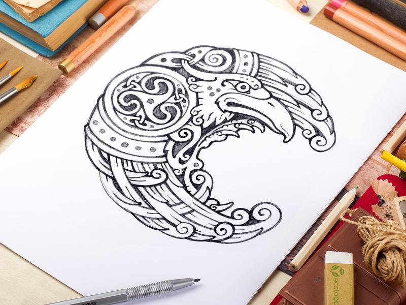 celtic raven by sergey arzamastsev dribbble