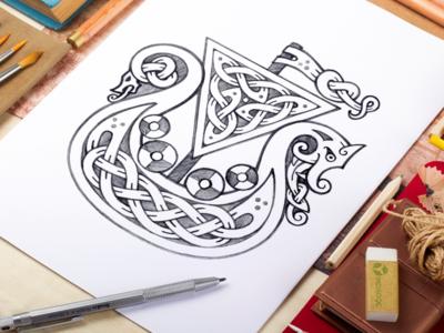 Celtic Drakkar Pencil Sketch