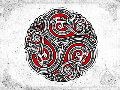 Snakes Triskelion knot knotwork art ornament viking norse celtic triskele triskelion snake