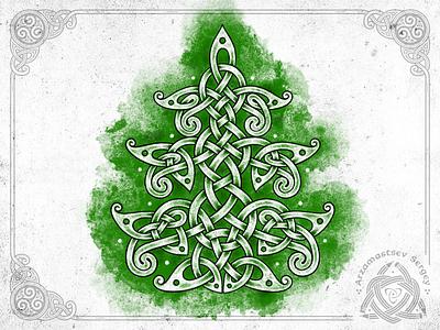 Christmas Tree tree christmas christmas tree illustration ornament pencil irish celtic