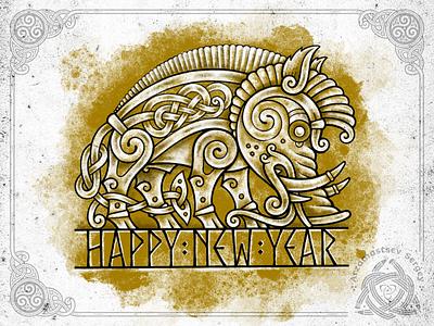 Golden Celtic Boar 2019 2019 newyear pig boar animal design illustration ornament knot irish celtic