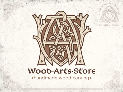 WoodArtsStore coreldraw vector norse serpent monogram logo design illustration knotwork snake emblem viking knot irish ornament celtic