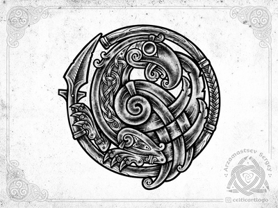 Raven & spear mythology norse gungnir gungnir procreate spear corbie rawen bird illustration knotwork sketch pencil viking knot irish ornament celtic