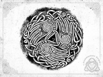 the Oath - triskelion hands oath triskele triskelion handbreadth hands logo illustration knotwork sketch emblem pencil knot irish ornament celtic
