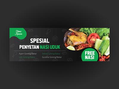 "Food Banner ""Penyetan"" vector illustration typography design branding"