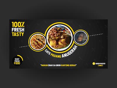 "Food Banner ""Sate Padang"" vector illustration typography design branding"