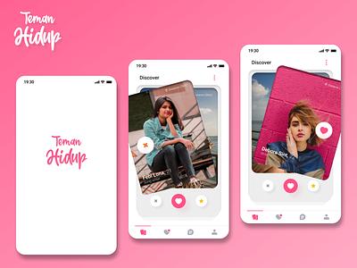 """""""Teman Hidup"""" dating app icon ux ui app vector typography design branding"""