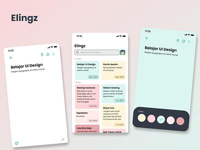 """Elingz"" reminder app icon ux ui app illustration vector typography design branding"