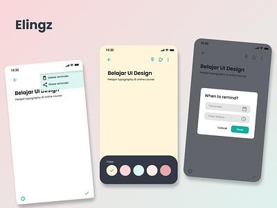 """Elingz"" reminder app 2 icon ux ui app illustration vector typography design branding"