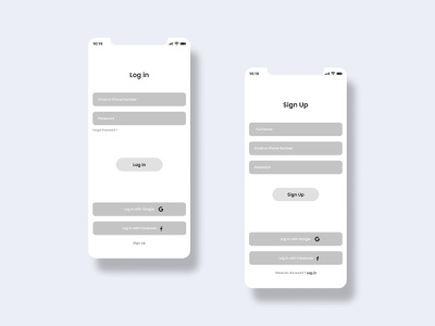 Wireframe - Login And Sign up Screens ux design registration logout mobile wireframe wireframes wireframe mobile app ux mobile app ui mobile app design login sign in sign up app design prototype app mobile ui clean ux ui