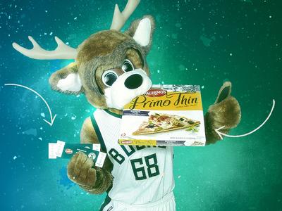 Unused Milwaukee Bucks Pizza Promo gradient particles web mascot milwaukee nba bucks pizza