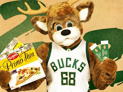 Milwaukee Bucks Pizza Promo gradient halftone web mascot milwaukee nba bucks pizza