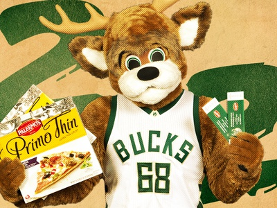 Milwaukee Bucks Pizza Promo gradient halftone web mascot milwaukee nba bucks pizza