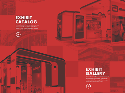 All Red Everything overlay gallery exhibit design red wash color plus web design trade show