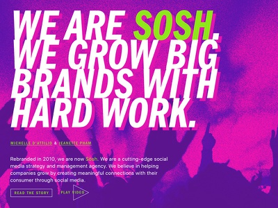 Unused Sosh Single Page App Site vertical single page spa news feed purple neon design social web