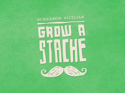 Grow a 'Stache mustache typography custom wordmark logo icon web
