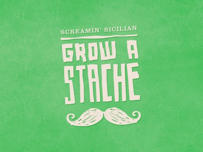 Grow a 'Stache mustache typography custom wordmark logo icon web
