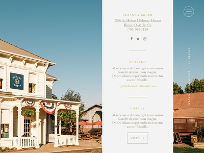 Durant & Booth Wines Contact Page gold napa california typography serif minimal design wine web