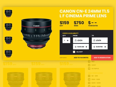 Camera Rental Quick View bold availability datepicker dates interactive yellow modal web