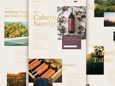 Crossroads by Rudd Wine napa alcohol gold sketch ux ui gradient typography web wine
