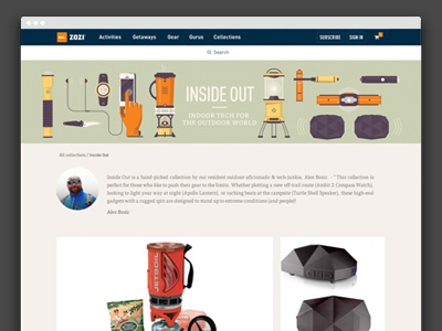 Collections curation collection product website startup ui