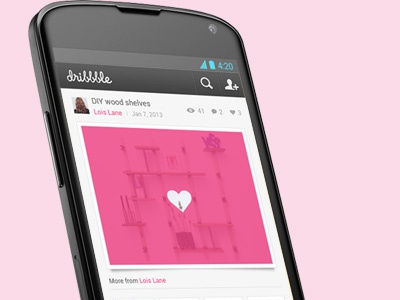 Dribbble for Android - Shot pink android app dribbble search profile like comment