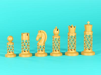 Hexagonal chess set design icon branding design 3d