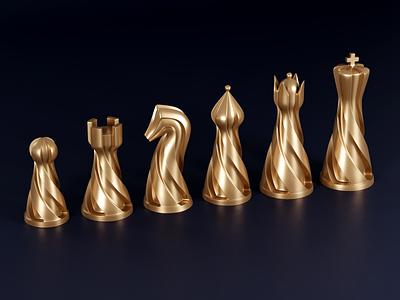 Chess set branding graphic design 3d