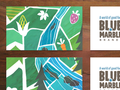 Business cards for Blue Marble illustration farming organic business card branding