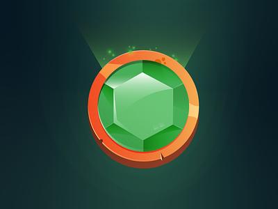Coin green art game amulet gem coin illustration