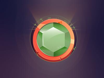 Coin 2 game art game green gem amulet coin illustration