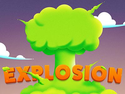 Boom noise cloud ios game mobile mushroom cloud guacamole explosion boom illustration