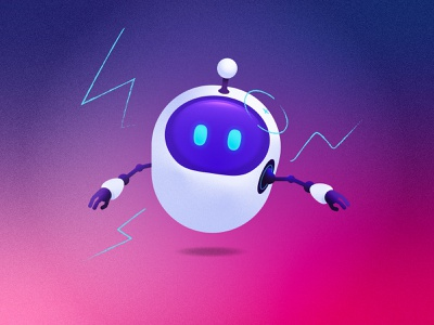 Noisy bot white noise shadow purple blue noise robot illustration