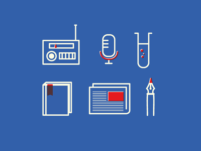 Hear Here icons illustration blue red podcast newsletter