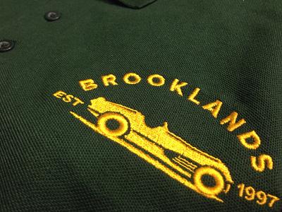 Brooklands shirt t-shirt embroidery branding car green gold