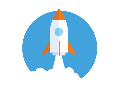 Lift off launch phittr rocket liftoff illustration orange blue