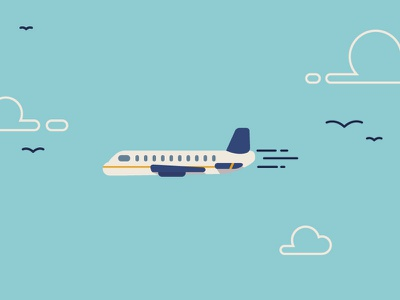Uol Plane plane illustration animation clouds blue yellow