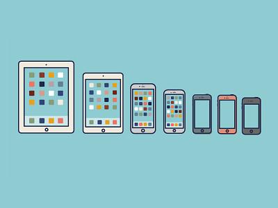 Bunch O' phones (iOS edition) illustration phones ios iphone ipad animation blue devices