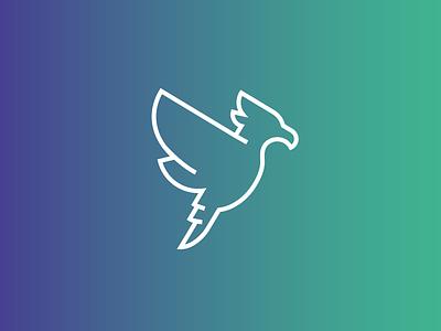 Bird Mark outline gradient brand illustration logo bird