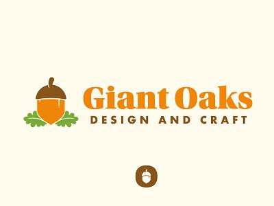 ...Come Giant Oaks furniture icon logo branding green brown orange oaks acorn