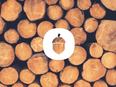 Giant Oaks log wood tree nature brown white branding icon logo acorn