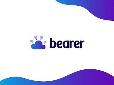 Bearer gradient blue purple network bear paw illustration icon cloud branding logo typemark