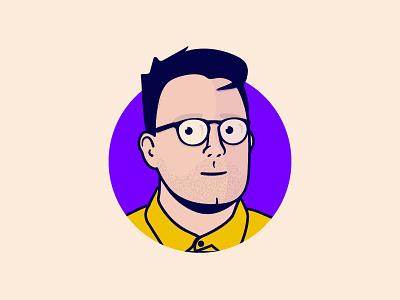 Selfie personal drawing yellow purple self portrait illustration