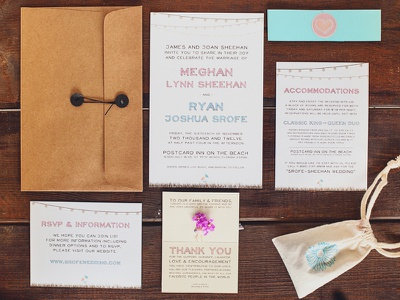 Wedding Correspondence wedding invite rsvp envelope type blue pink love clean simple