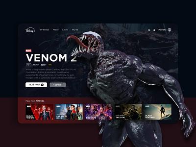 Disney+ disney video streaming streaming marvel venom dark design 3d desktop clean ux website ui
