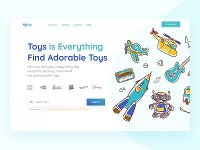 My Toys Landing page webdesign toy toys blue desktop design illustration flat desktop clean ux website ui