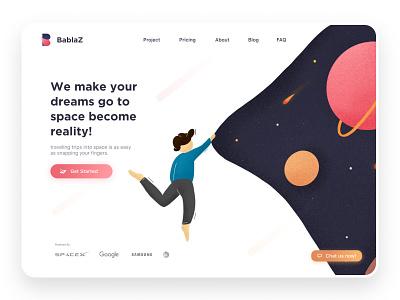 Bablaz Landing Page uxdesign ux uiux planet space illustration clean desktop ui website