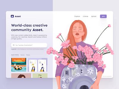Asset - Landing page stock website asset landing page hero image purple illustration desktop website clean ux ui